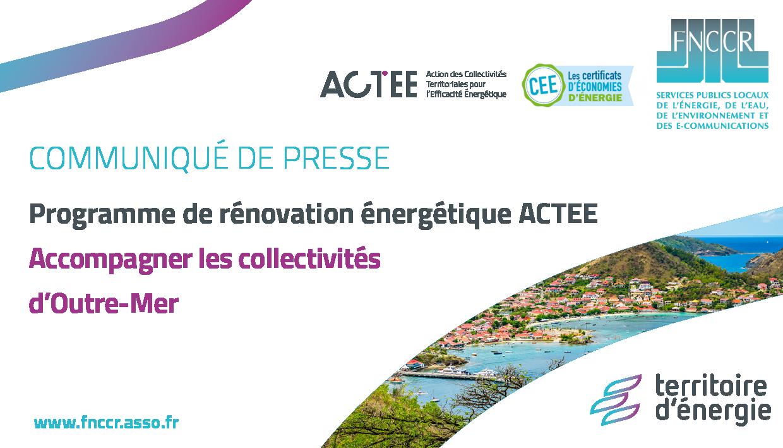 Programme de rénovation énergétique ACTEE : accompagner les collectivités d'Outre-Mer