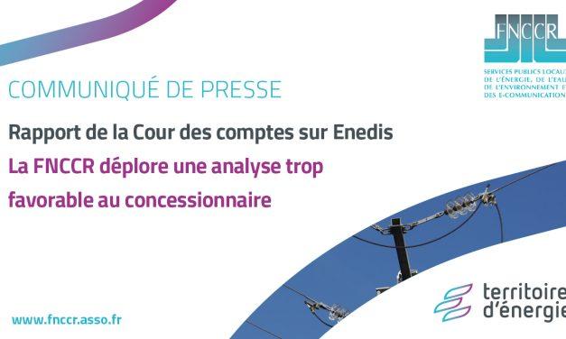 Rapport de la Cour de comptes : la FNCCR déplore une analyse trop favorable à Enedis
