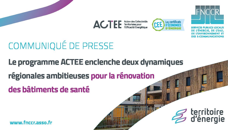 Programme ACTEE : enclencher 2 dynamiques régionales ambitieuses pour rénover les bâtiments de santé
